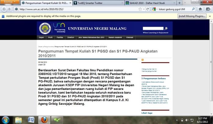 Lokasi Penempatan PGSD UM PP2 Sawojajar